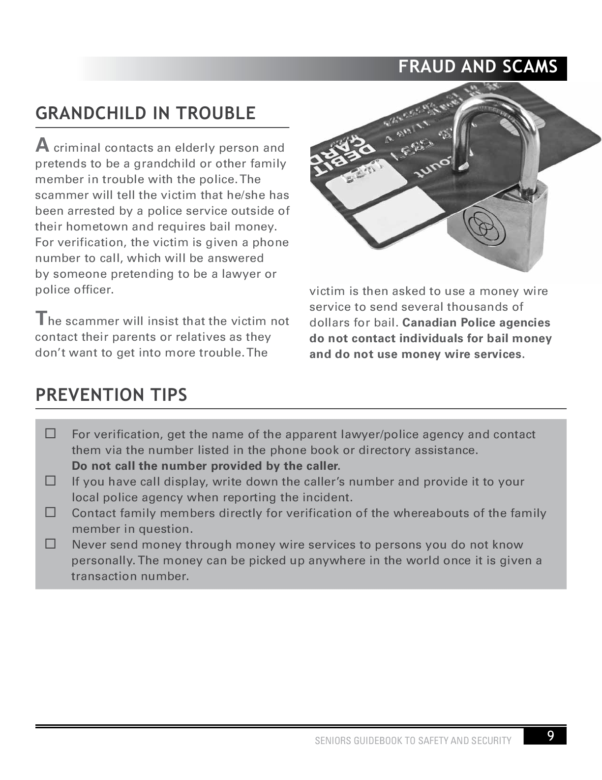 Seniors Guidebook to Safety and Security 11